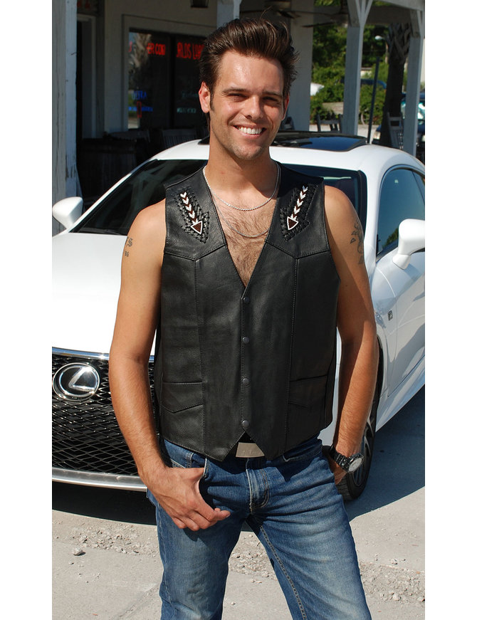 Unik Hand Lace and Indian Bead Inlay Men's Leather Vest #VM641BDK