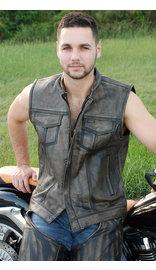 Vintage Brown Leather CCW Club Vest #VM6401ZGN