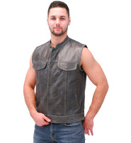 Vance Vintage Gray Leather Club Vest with Easy Access CCW #VMA914GY