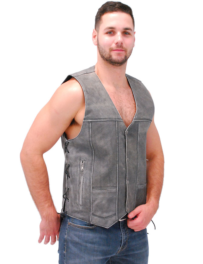 Vintage Gray Leather Side Lace CCW Vest #VMA964GLGY
