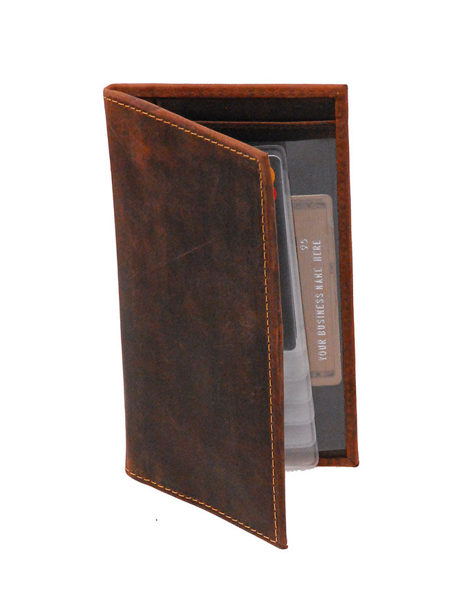Vintage Brown Leather Checkbook Cover #W513101NID