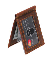 Vintage Brown Leather Money Clip Wallet #W513171NID
