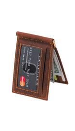 Vintage Brown Leather Money Clip Wallet #W513171NID