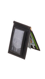 Vintage Black Leather Money Clip Wallet #W513170KID