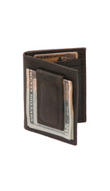Vintage Black Leather Magnetic Money Clip Wallet #W543700K