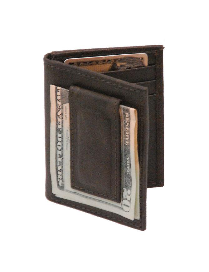 Vintage Black Leather Magnetic Money Clip Wallet #W543700K