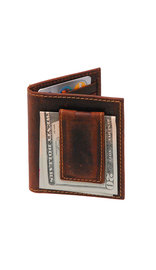 Vintage Brown Leather Magnetic Money Clip Wallet #W543701N
