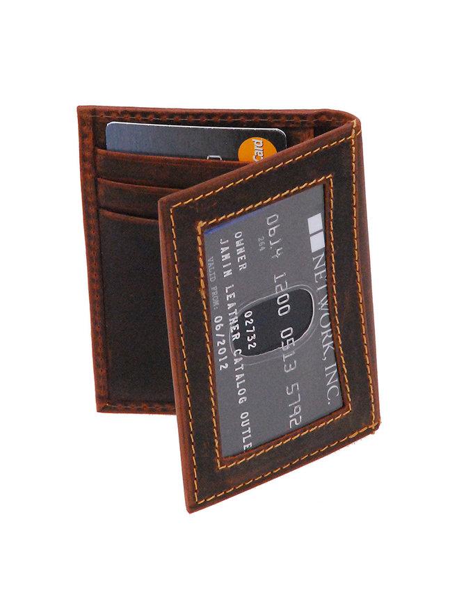 Vintage Brown Leather Magnetic Money Clip Wallet #W543701N
