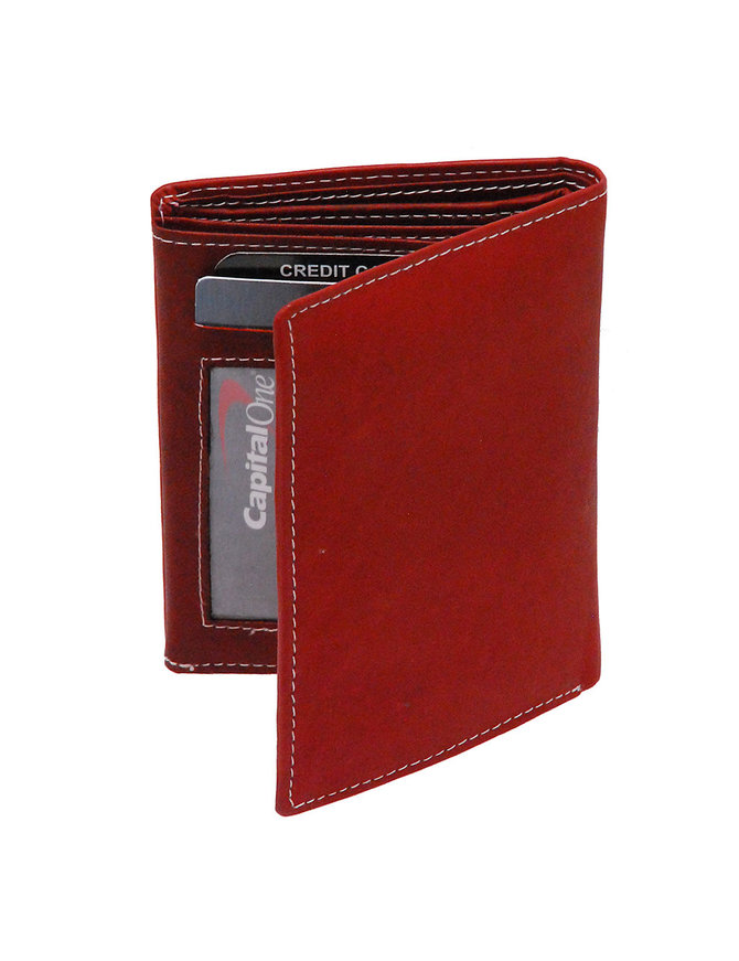 Brown Leather 12 Pocket Organizer Wallet #WL111ZN
