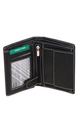 Black Leather 12 Pocket Organizer Wallet #WL110ZK