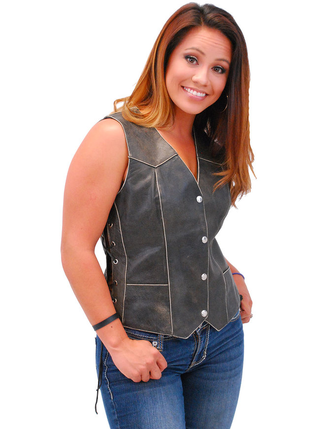 Jamin Leather Vintage Brown Leather Vest for Women w/Side Lacing #VLA516LDN