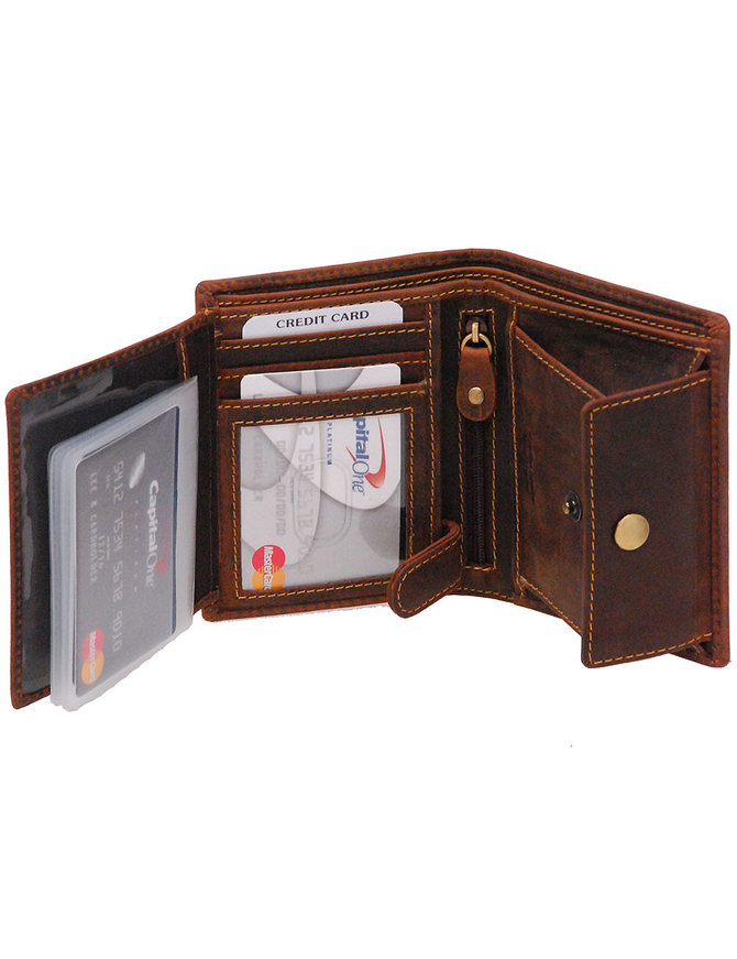 Vintage Brown 12 Pocket Organizer RFID Wallet #WL13091NID