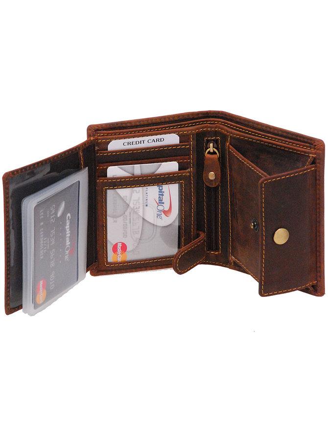 Women's Vintage Brown 12 Pocket Organizer RFID Wallet #WL13091NID