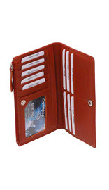 Women's Brown Leather 16 Pocket Checkbook Wallet #WL5141ZN