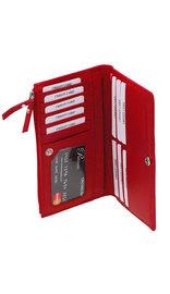 Women's Red Leather 16 Pocket Checkbook Wallet #WL5142ZR