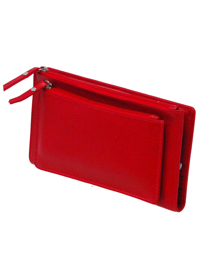Women's Red Leather 16 Pocket Checkbook Wallet #WL5142ZR