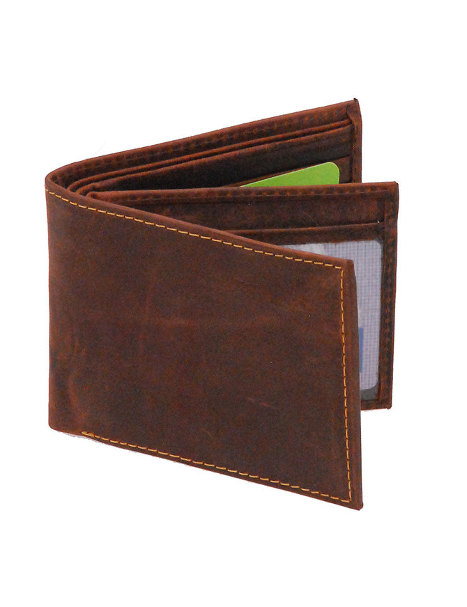 Vintage Brown Bifold w/Center Flap 14 Pocket RFID Wallet #WM13121NID