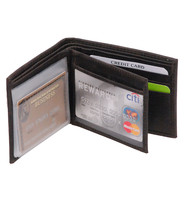 Vintage Charcoal Black Bifold w/Center Flap 14 Pocket RFID Wallet #WM13120KID