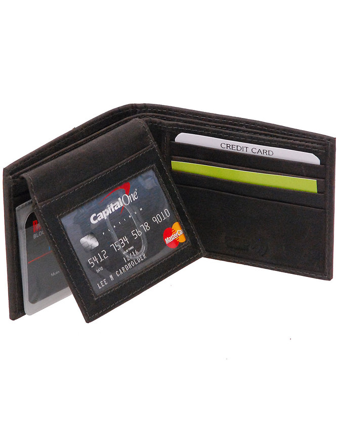 Vintage Black Flip Up Bifold RFID Wallet w/Photo Insert #WM13040KID
