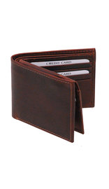 Vintage Brown Flip Up Bifold RFID Wallet w/Photo Insert #WM13041NID