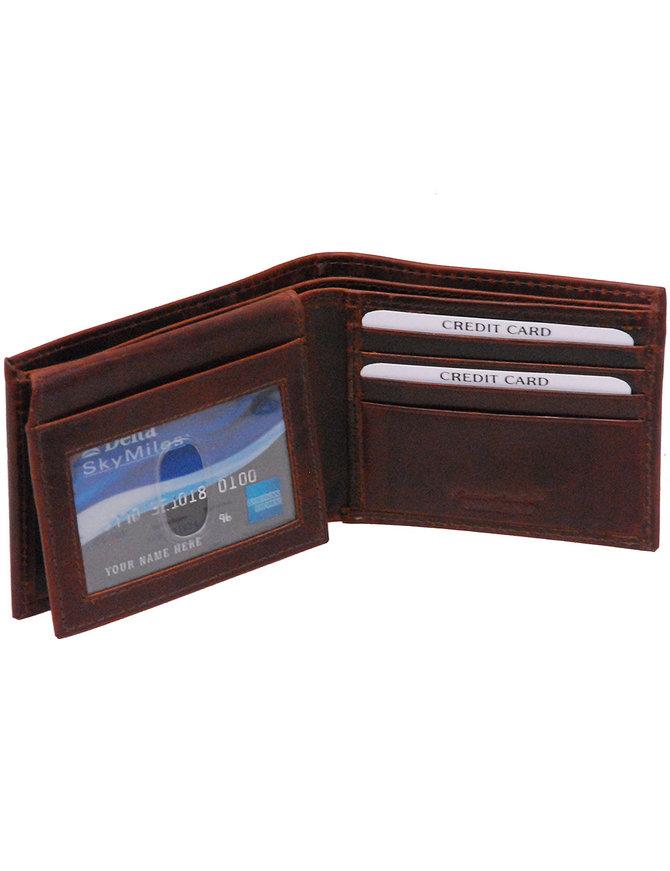 Vintage Brown Flip Up Bifold RFID Wallet w/Photo Insert #WM13041NID