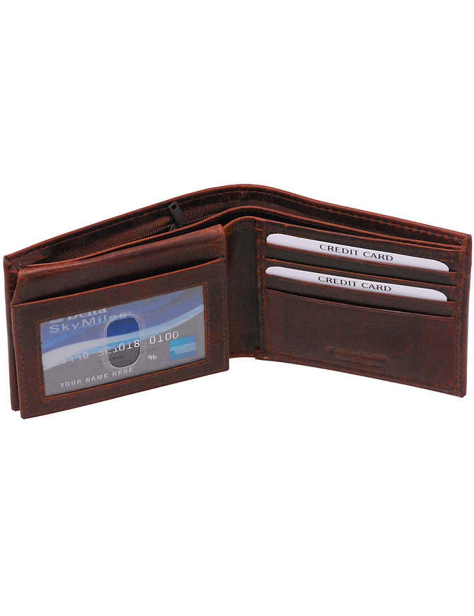 Oil Tanned Brown Flip Up Bifold w/Zip Bill Pocket #WM53458ZDN