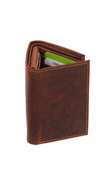 Men's Vintage Brown Flip Up 17 Pocket Trifold RFID Wallet #WT13151NID