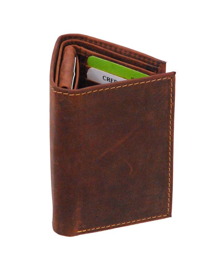 Men's Vintage Brown Flip Up 17 Pocket Trifold RFID Wallet #WM13151NID