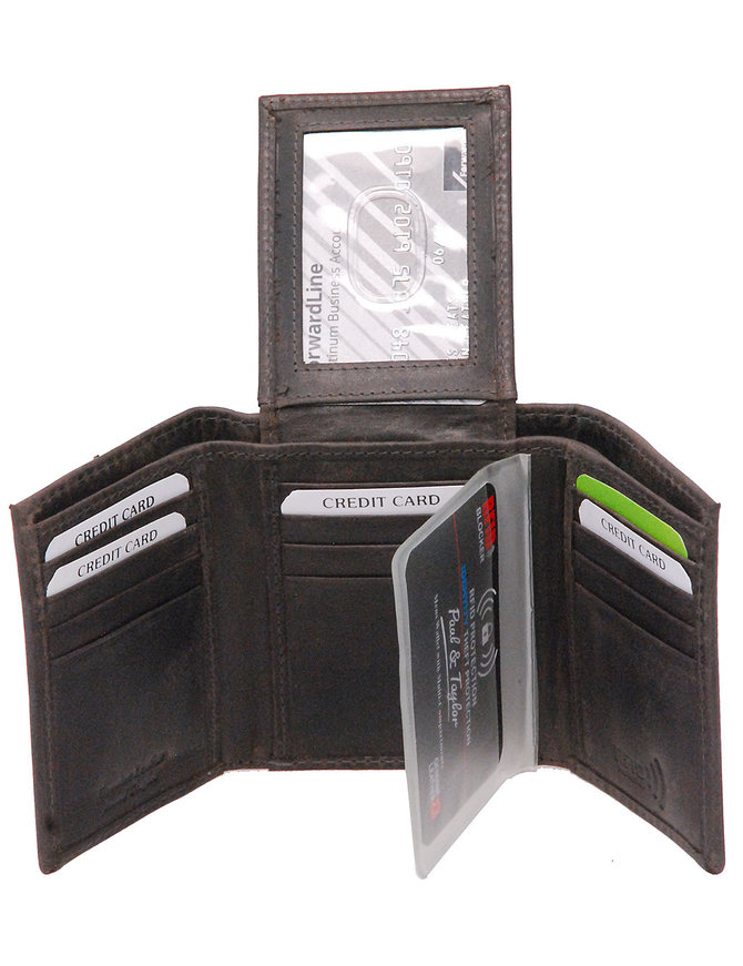 Men's Vintage Black Flip Up 17 Pocket Trifold RFID Wallet #WM13150KID