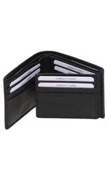 Tri-Bifold Black Leather Wallet w/14 Compartments #WB871K