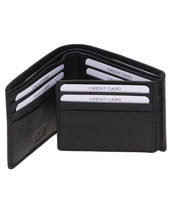 Tri-Bifold Black Leather Wallet w/14 Compartments #WM871K