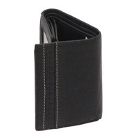 Men's Black Quadfold/Trifold 12 Pocket Wallet w/ID #WT869KID