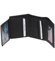 Men's Black Quadfold/Trifold 12 Pocket Wallet w/ID #WM869KID
