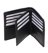 Tall Bifold Center Flap Leather Wallet w/20 Compartments #WM887K
