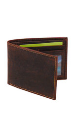 Vintage Brown Bifold RFID Wallet w/Photo Insert #WB13011NID