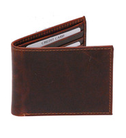 Oil Tanned Brown Extra Slim Bifold Wallet w/9 Pockets #WB54351DN