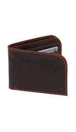Men's Oil Tanned Brown Front Pocket Curved Leather Wallet #WB43611DN