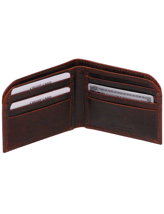 Men's Oil Tanned Brown Front Pocket Curved Leather Wallet #WM543611DN