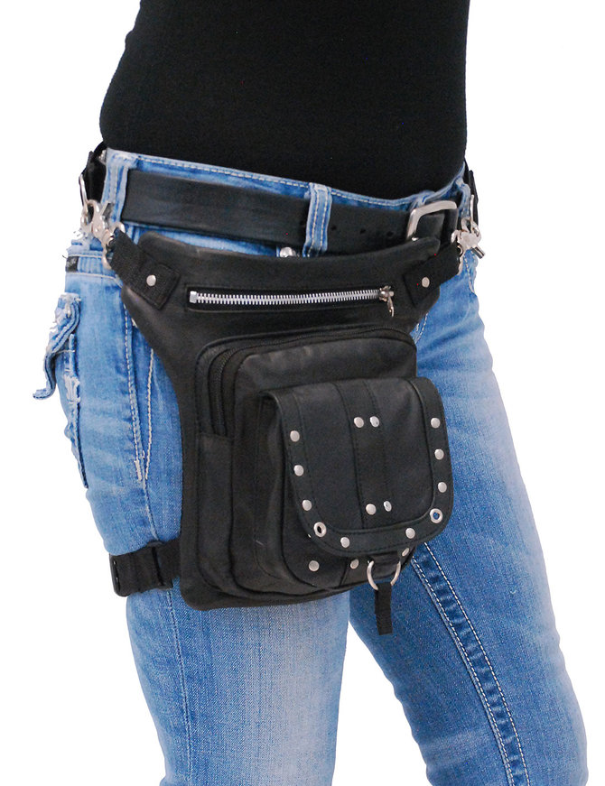 Studded Leather Thigh Bag w/Small CCW #TB351SGRK