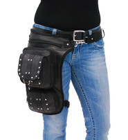 Long Studded Leather Thigh Bag w/CCW #TB353XGRK