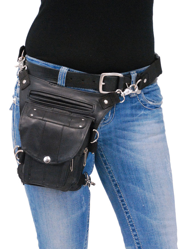 Short Black Leather Thigh Bag w/Small CCW #TB2083GRK