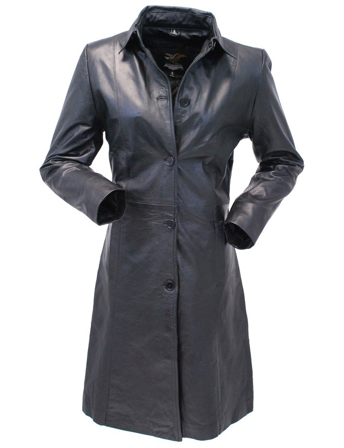 Jamin Leather Extra Long Button Down Lambskin Leather Coat for Women #L1401398ZK