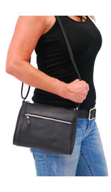 Black Cowhide Leather Zipper Purse #P5190K