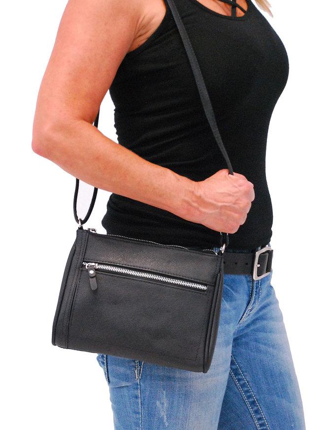 Black Cowhide Leather Zipper Purse #P5190K