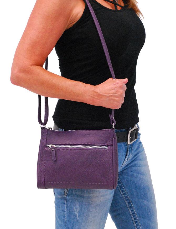Purple Cowhide Leather Zipper Purse #P5194PUR