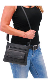 Medium Size Black Leather Purse w/Studded Flap #P30370K
