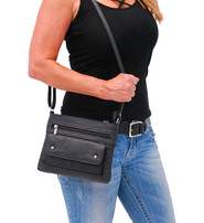 Medium Size Black Leather Purse w/Studded Flap #P30370K