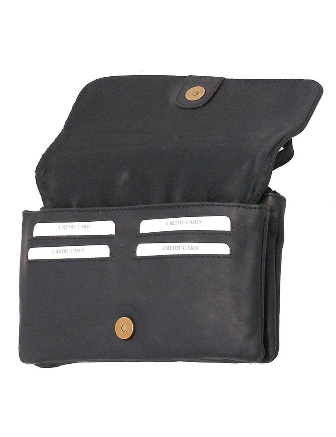 Small Wide Leather Purse w/Large Side Flap Organizer #P161530K