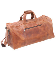 Vintage Brown Heavy Leather Over-sized Duffel Bag #P163081N