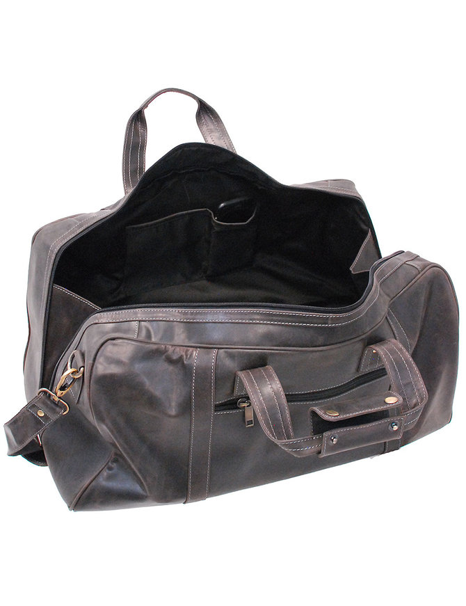 Vintage Black Heavy Leather Over-sized Duffel Bag #P163080K